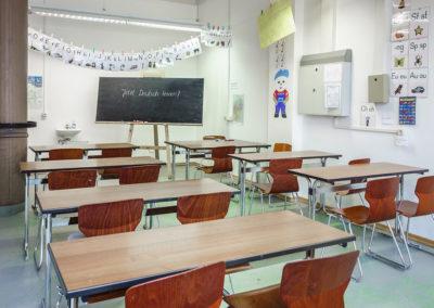 Im Unterrichtsraum erleichtern Hilfsmittel das Erlernen der deutschen Sprache